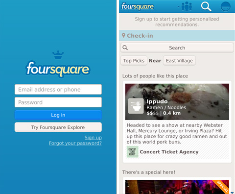 Foursquare bringing its signup free Explore feature to mobile. First up? BlackBerry