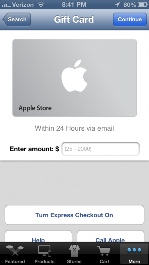 IMG 0428 520x923 Apple Store app update brings Siri shopping, lets you add store gift cards to Passbook
