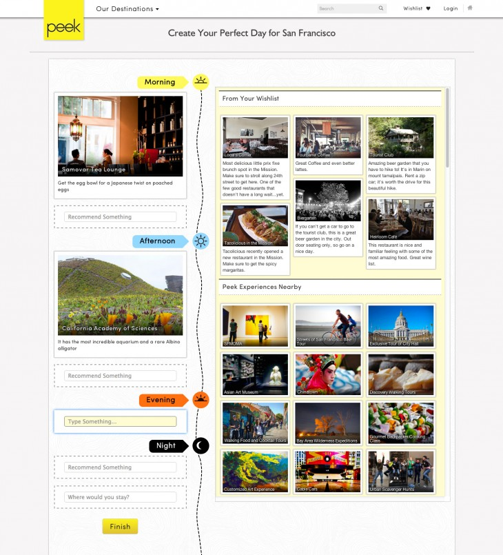 Peek builder v3 730x805 Peek unveils Perfect Day Builder, enabling you to share tips and ideas of your favorite places
