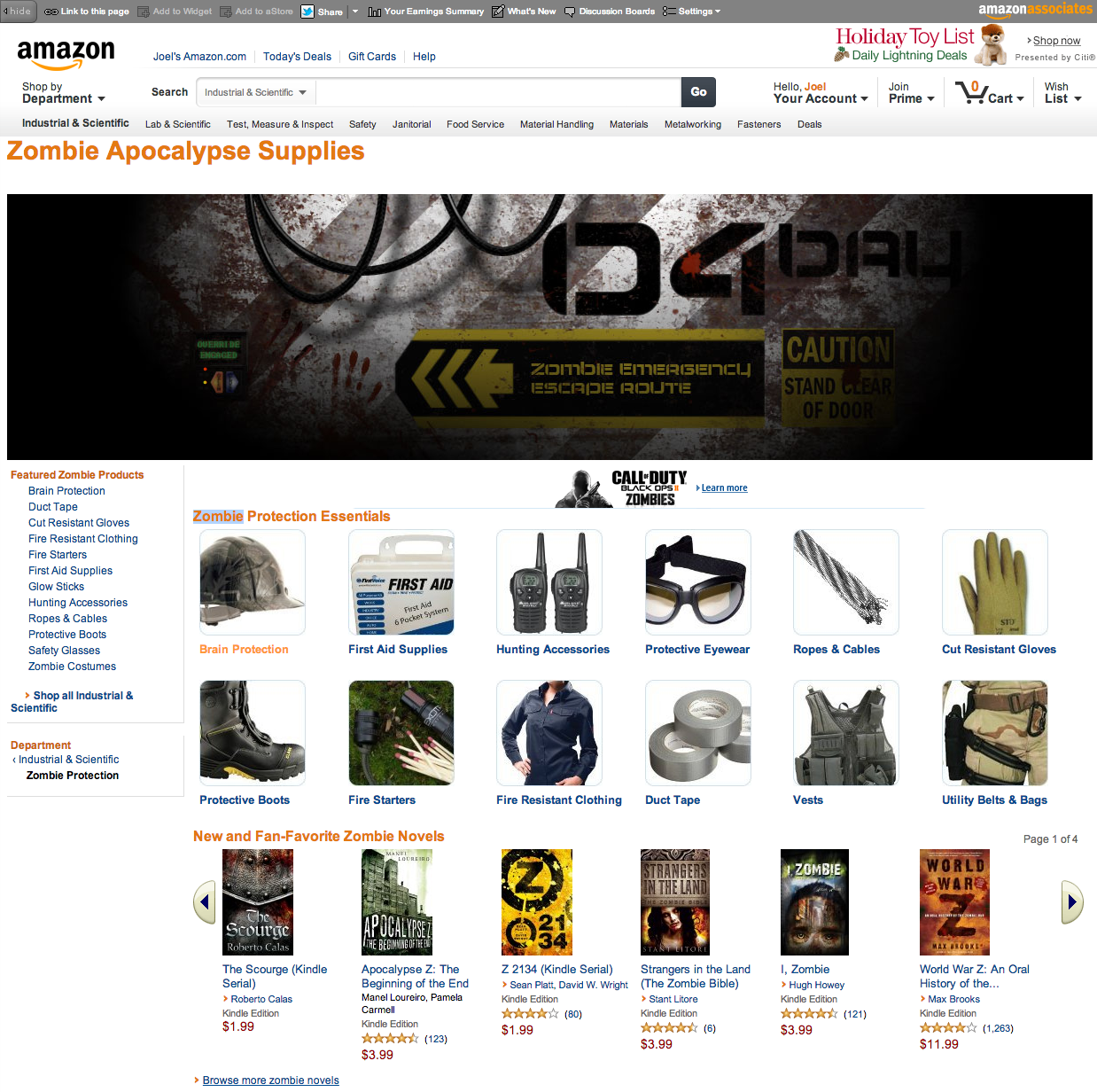 Screen Shot 2012 11 13 at 9.42.21 AM Amazon prepares users for the zombie apocalypse with essential gear