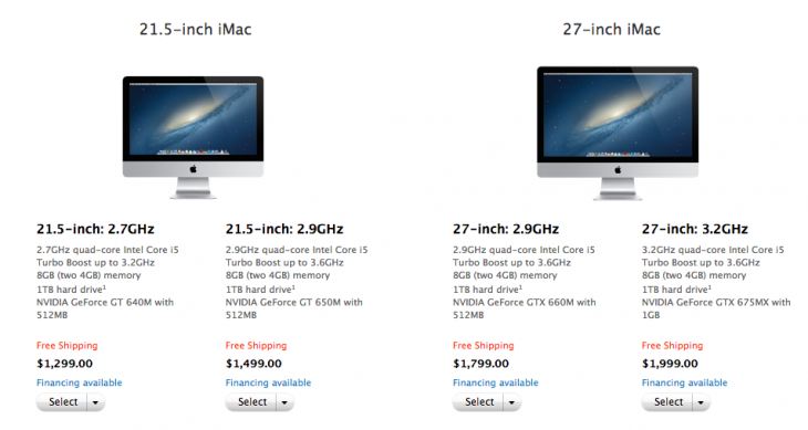 Screen Shot 2012 11 30 at 08.12.00 730x389 Apples new redesigned iMacs go on sale in the US, 21.5 inch models shipping in 1 3 days