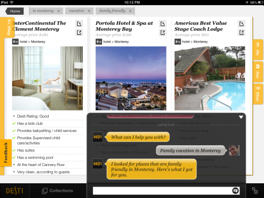 Screenshot Results in conversations 520x390 Siri for travel, Desti, launches iPad app in public beta giving users their own smart travel guide