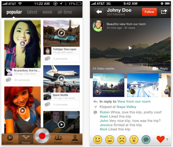 Snap 2012 11 29 at 00.25.32 Video social network Klip updates its iOS app to add video replies and personal messaging