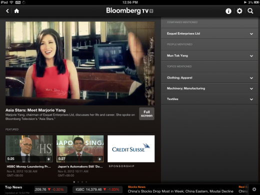 bloomberg ipad 520x390 Bloomberg upgrades TV+ iPad app to include Asia shows