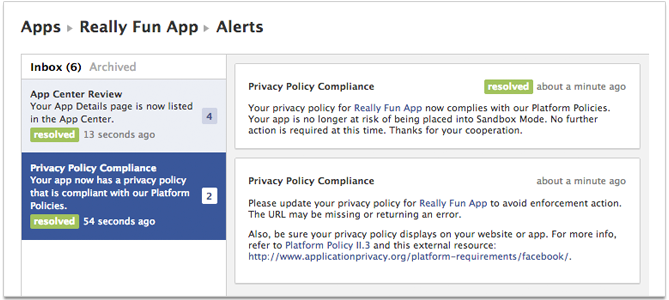 dev alerts 1 Facebook offers Developer Alerts to devs on platform changes that could break apps, violations and more