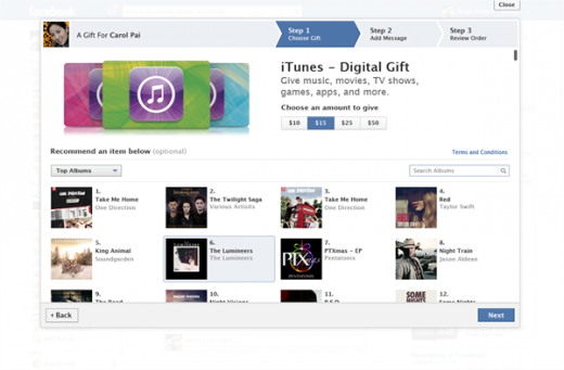 facebook itunes gifts 520x341 Facebook adds iTunes credit and recommendations to its Gifts service