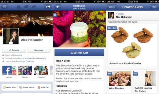 facebook gifts mobile screenshot 520x307 Facebook updates its iOS app with Gifts, new Messages interface, and multi photo uploads