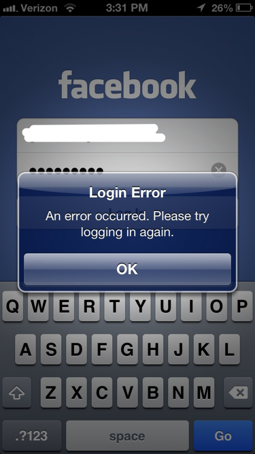 facebook login error 520x923 Facebook for iOS version 5.1 causes News Feed, login issues, may not display friends, groups (now fixed)