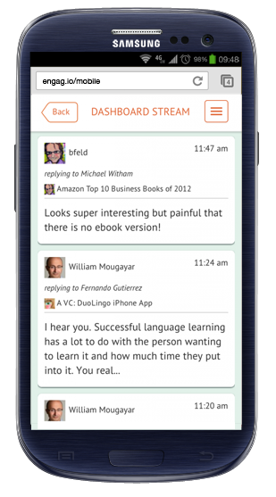 mobile engagio Engagio wants to be your destination for searching through social conversations