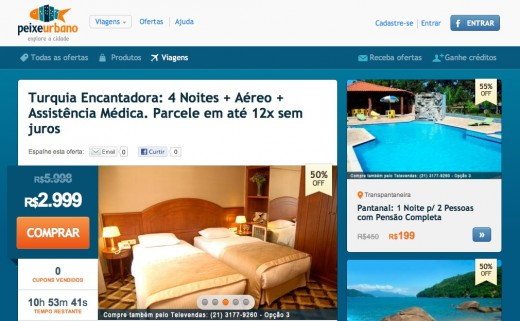 peixe urbano viagens 520x321 Peixe Urbano keeps on diversifying, launches in house online travel agency for Brazil