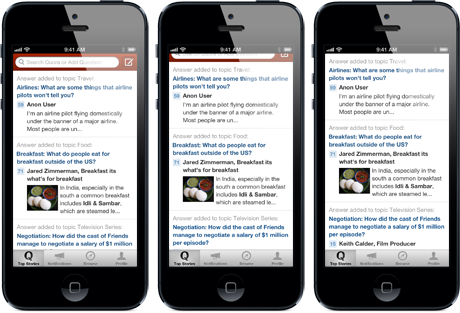 quora interface update Quora releases update to its iPhone app with new interface, 3x faster searching, and more sharing
