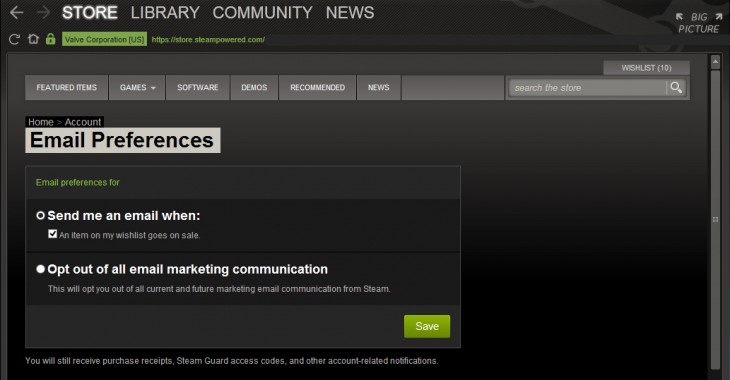 4Ngit 730x380 Your wallet will beg for mercy: Steam now emails you when an item on your wishlist goes on sale