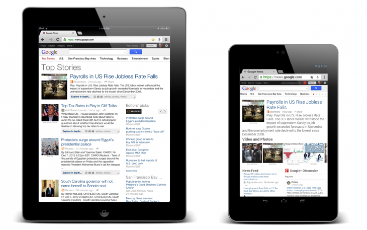 Blog both tablets 730x457 At 6B page views sent, Google News gets new gestures, more white space for Android and iOS tablets