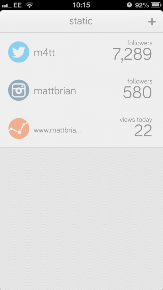 IMG 4798 520x923 Static for iPhone: A slick way to track stats across Twitter, Instagram, Google Analytics and more