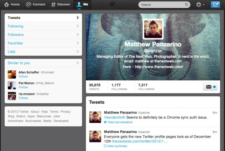 Screen Shot 2012 12 10 at 11.04.56 AM 730x492 Twitter says everyone will get the new profile pages look as of December 12th