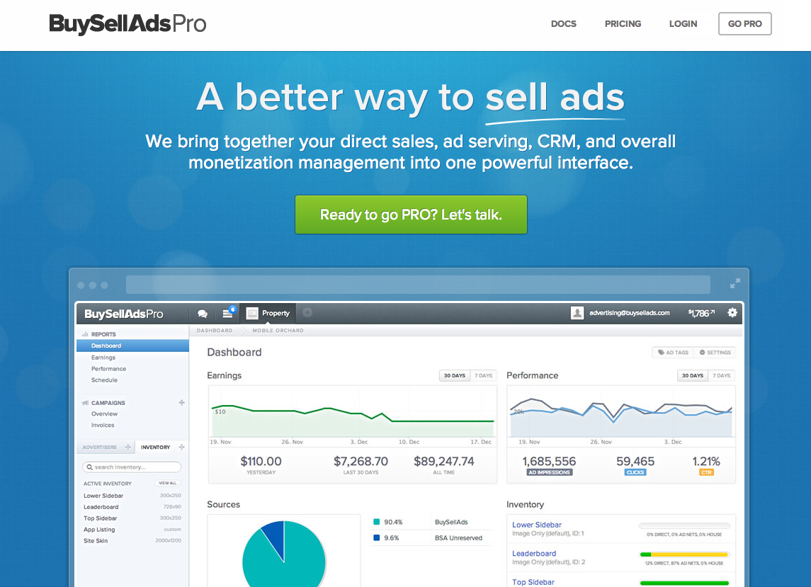 Screen Shot 2012 12 21 at 9.37.12 AM BuySellAds launches PRO, consolidating your site monetization tools