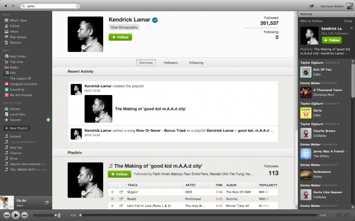Screen Shot 2012 12 27 at 1.41.34 AM 730x456 Spotify the social network: A sneak peek at the unreleased follow features and Web profiles