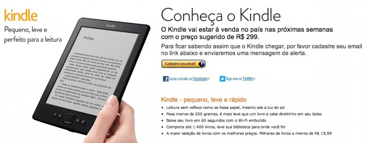 amazon kindle brazil 730x285 Amazon launches its Kindle Store in Brazil, announces $150 Kindle will be available in the coming weeks