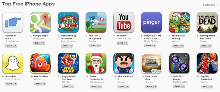 app store fb poke 730x308 In less than a day, Facebooks Poke displaces Google Maps as the App Stores most popular free app