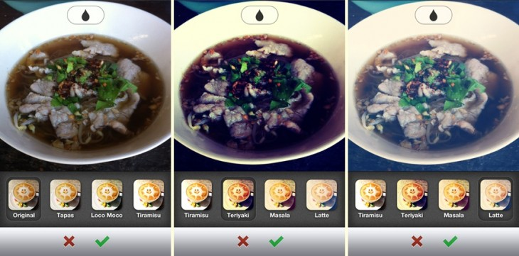 burpple filters trio 730x361 Food sharing app Burpple serves up photo filters to make your latest eats look even tastier