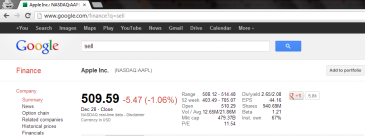 goog finance sell 730x272 Type sell into Google Finance and youll get Apples stock price (Update: Google has fixed it)