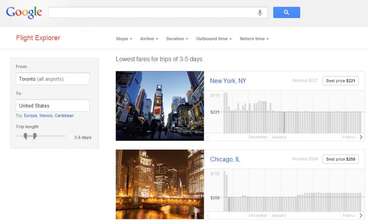 google flight explorer 730x443 Google tests new Flight Explorer service to help you buy the perfect plane ticket