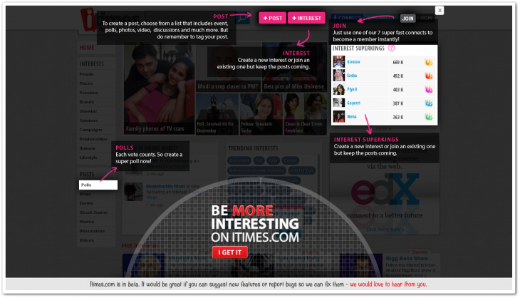 itimes 730x418 Former Facebook for India hopeful iTimes relaunches as interest based social network