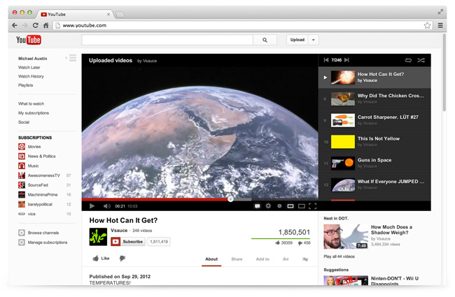newlook 1 YouTube gets sleek new design with cross site Guide feature to promote subscriptions and channels