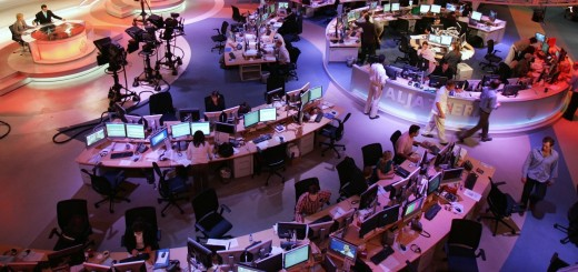 A general view shows the newsroom at the