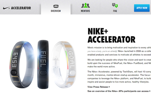nikea Nike to kick off a Nike+ startup accelerator in March 2013, powered by TechStars