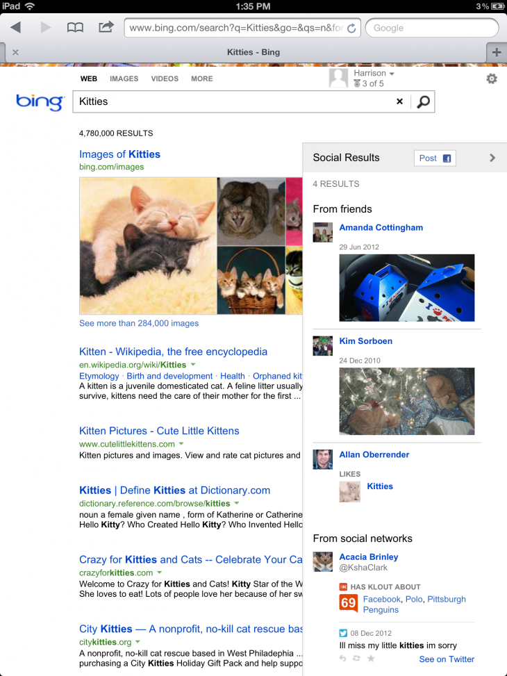 photo3 730x973 Microsoft launches its Bing social sidebar results on the iPad and iPad mini