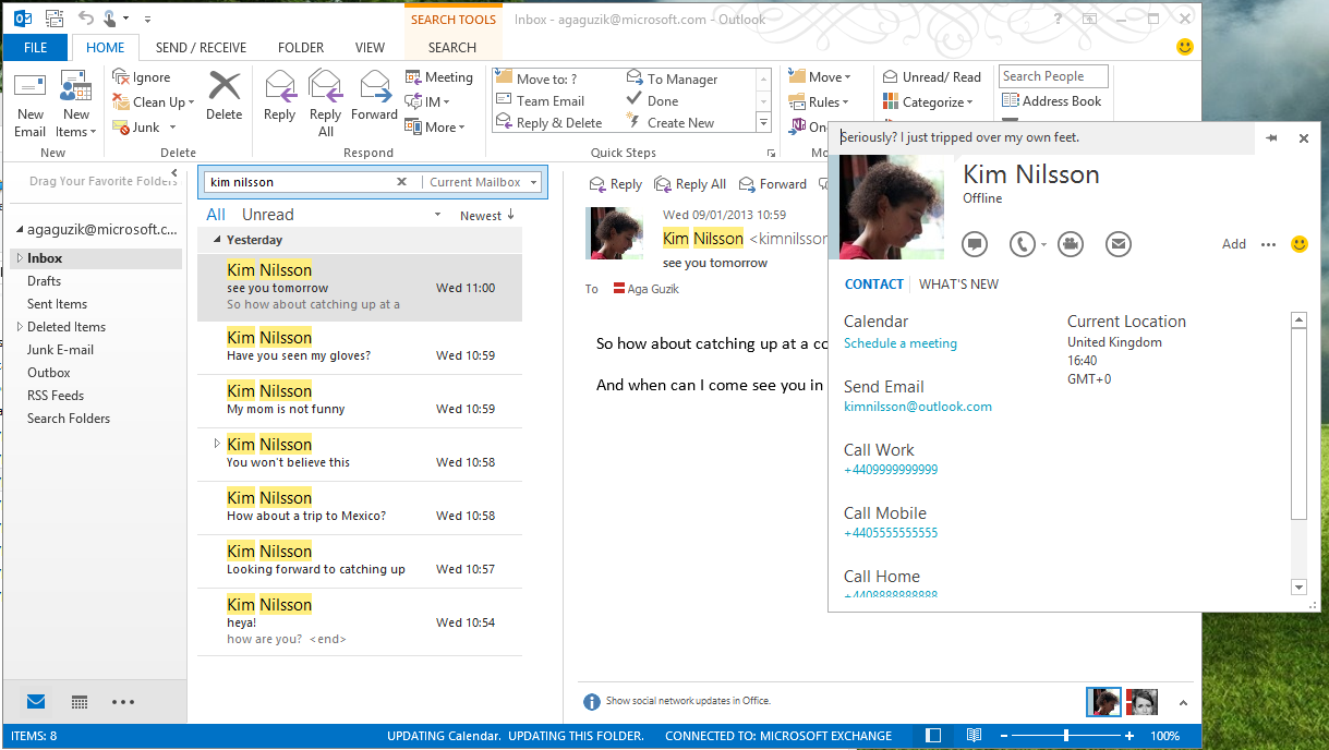 11 Skype integrates its Windows app with Outlook, allowing for calls to progenerate from the desktop email tool