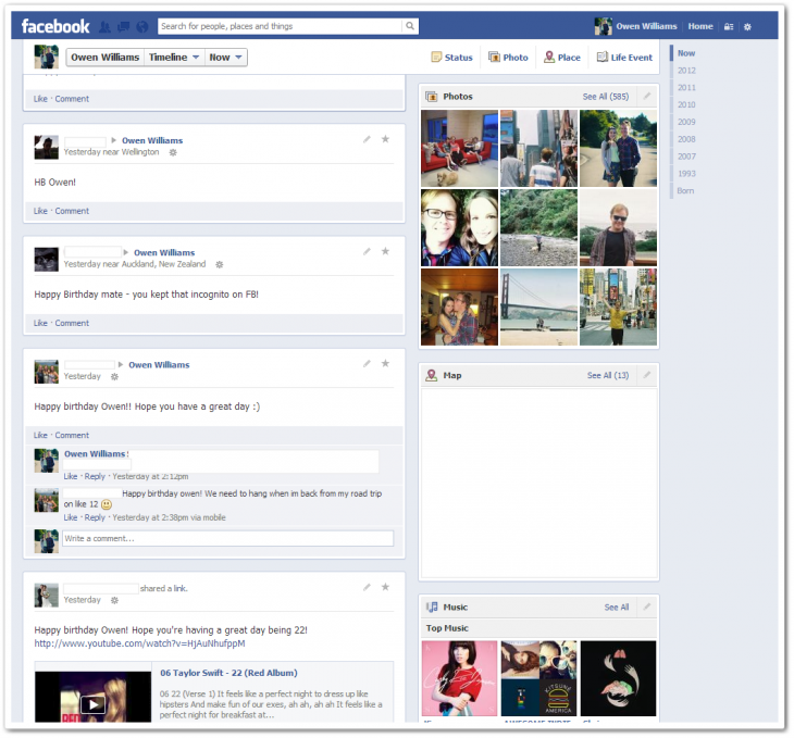 2 730x679 Facebook begins rolling out new single column Timeline with greater emphasis on messages [Updated]