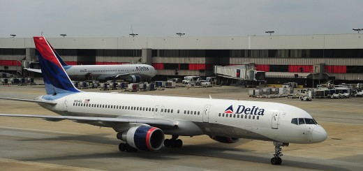 A Delta Airlines jets arrives at Atlanta