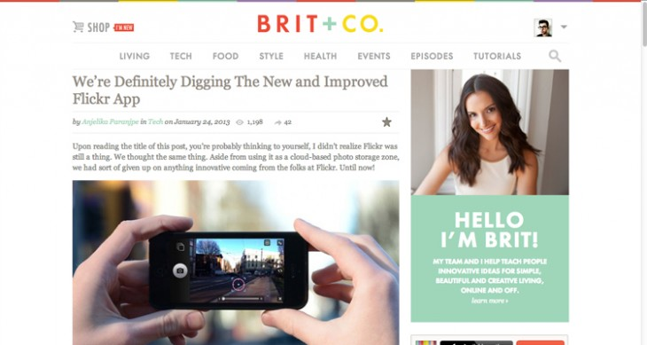 Britandcoscreen 730x389 Brit + Co. adds user profiles and favorites to its technology, lifestyle and e commerce website