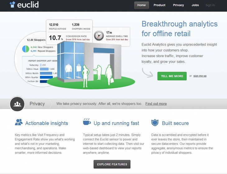 Euclid page 730x559 Euclid launches Google Analytics style measurement for brick and mortar stores via WiFi