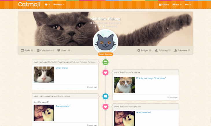 catmoji profile view 730x435 How Catmoji got 7,000 users to share 21,000 cat video and pictures in one month