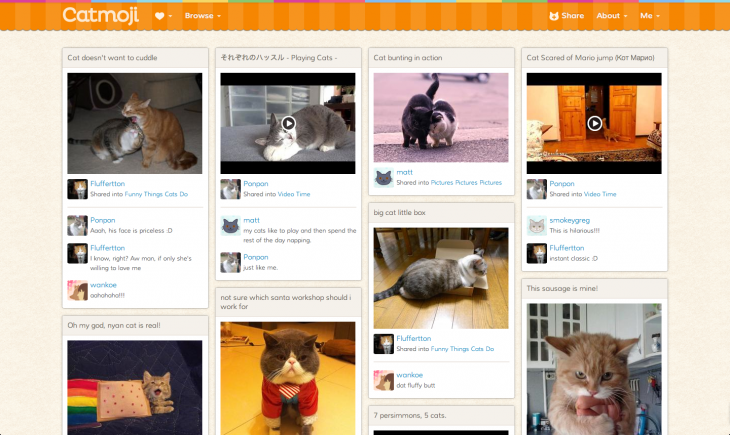 catmoji thumbnails view 730x435 How Catmoji got 7,000 users to share 21,000 cat video and pictures in one month