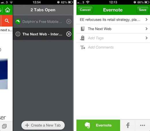 dolphinscreenshots2 Dolphin Browser updated with one tap sharing, browser sync and Evernote integration
