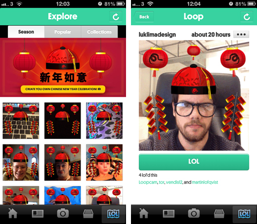 loopcamscreenshots1 Loopcam pushes its GIF sharing service in China with a new domain and filter for the Chinese New Year