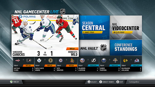 nhl screen NHL GameCenter launches on Xbox Live, offering live HD games, split screen viewing and more