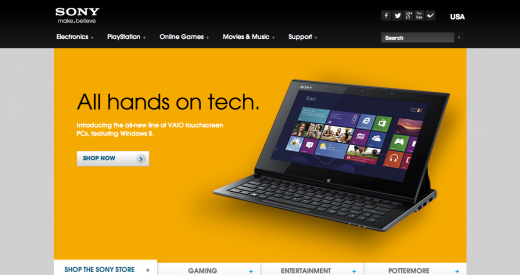sony 520x275 29 new inspiring responsive designs on the web
