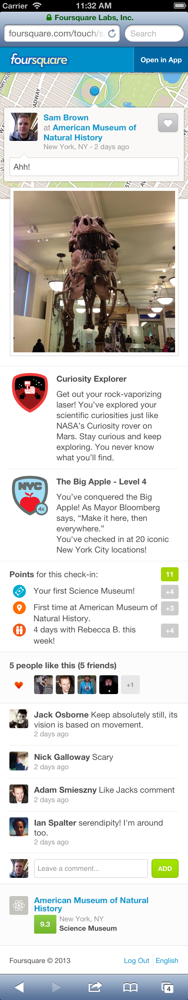 touchcheckindetails Foursquare launches new check in pages on mobile Web, revealing more details outside of the app