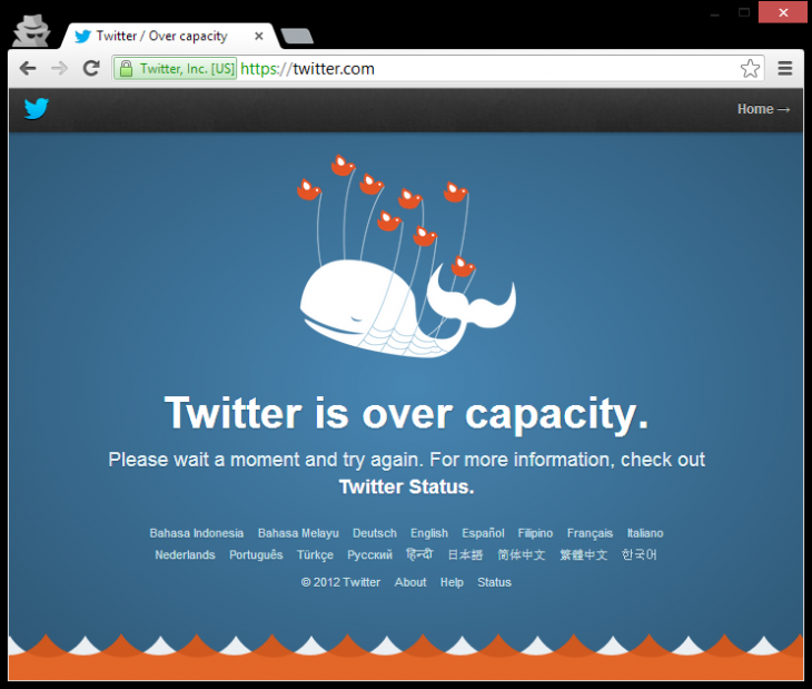 twitter fail whale 730x619 Just 10 days after its last outage, Twitter gets hit with the fail whale (Update: Fixed)