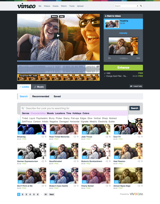 Enhancer Screenshot Vimeo makes a play for the Instagram for video crown with Looks, adding over 500 creative filters