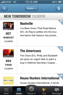 GetGlue Guide 220x330 GetGlue gives its iPhone app more TV show content and promoted posts, plans remote control features