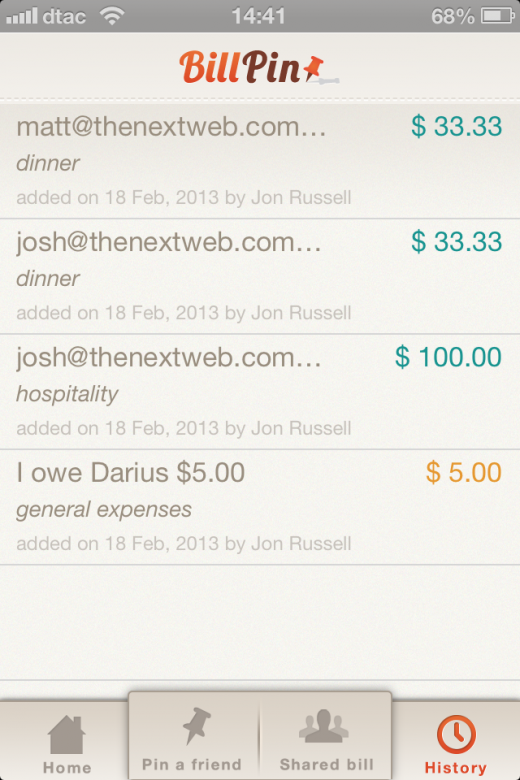 Photo 2013 02 20 02.15.25 PM 520x780 BillPin is a handy app to split bills between friends and keep track of who owes what