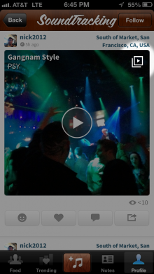 SmartPlay button iOS 220x390 SoundTracking tightens integration with Spotify, Rdio, and YouTube, now plays full tracks and videos