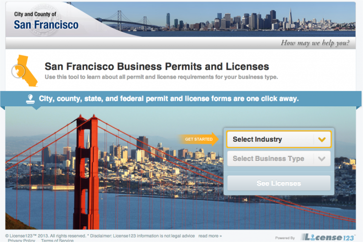 Snap 2013 02 14 at 18.02.21 730x487 San Francisco partners with License123 to give business owners an easy license and permit resource