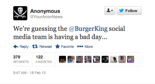 Snap 2013 02 18 at 09.49.08 Twitter suspends Burger Kings verified account after hack that claimed chain sold to McDonalds